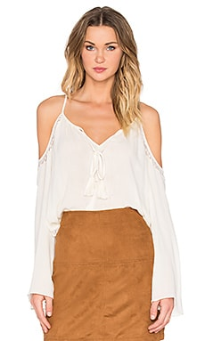 Cold Shoulder Peasant Blouse em Marfim