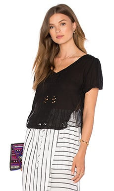 Mesh Insert Short Sleeve Blouse