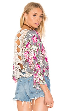 Lace Back Top em Grey Floral Print