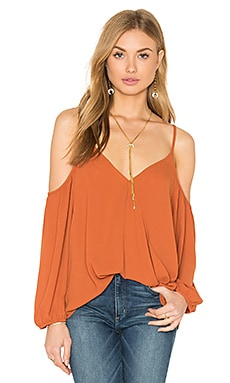 Bishop + Young Jane Cold Shoulder Cross Over Blouse in Rust