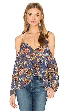 Bishop + Young Jane Cold Shoulder Cross Over Blouse in Blue Floral Print