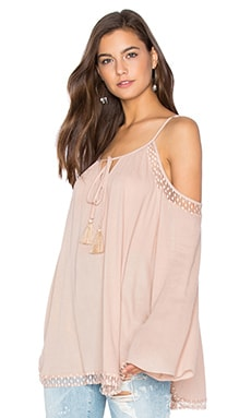 Cold Shoulder Peasant Top in Blush