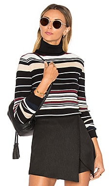 Striped Rib Knit Turtleneck Top en Assorted