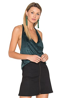 Suede T Strap Tank in Emerald Green