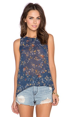Bishop + Young Floral Tank in Teal Print