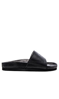 Broken Homme Patrick Slide in Black Chromexcel