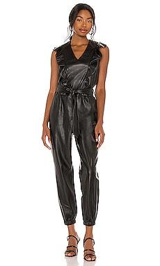 Vegan Leather Flutter Sleeve Jumpsuit BLANKNYC $104