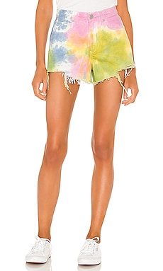 Pastel Tie Dye Barrow High Rise Denim Short BLANKNYC $53