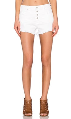 Button Front Short in White Broney