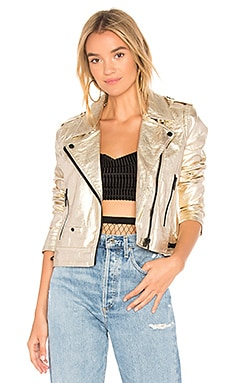 X REVOLVE Metallic Moto Jacket