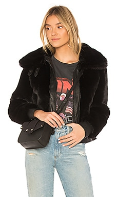 Black Noise Faux Fur Jacket BLANKNYC $136