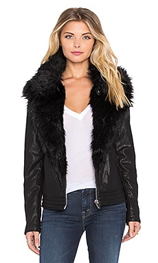 BLANKNYC Jacket with Faux Fur Collar in Control Freak