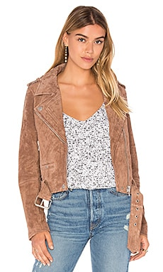 BLANKNYC Suede Moto Jacket in Coffee Bean