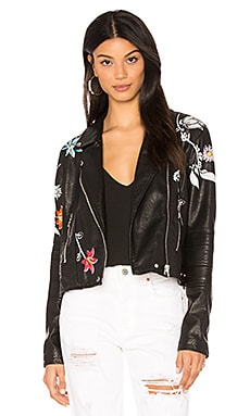 Embroidered Faux Leather Jacket in Secret Keeper