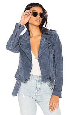 Suede Moto Jacket in Slate Blue