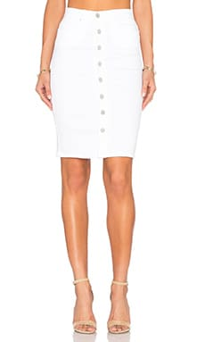 BLANKNYC Button Front Pencil Skirt in White Broney