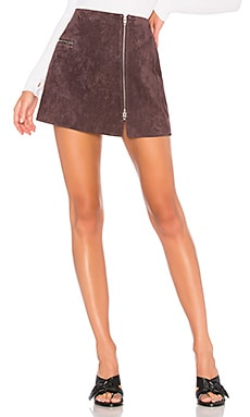 Asymmetrical Zip Suede Mini Skirt BLANKNYC $48