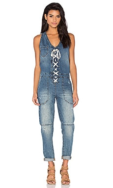 BLANKNYC Lace Up Jumpsuit in Low Key