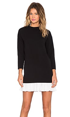 BLAQUE LABEL High Neck Ruffle Hem Dress in Black & White