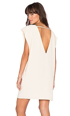 V Neck Pocket Dress in Cream