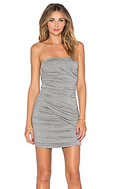 BLAQUE LABEL Ruched Strapless Dress in Heather Grey