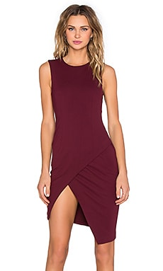BLAQUE LABEL Asymmetrical Mini Dress in Wine