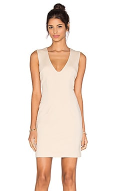 Plunging Neckline Mini Dress in Sand