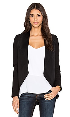 BLAQUE LABEL Leather Front Blazer in Black