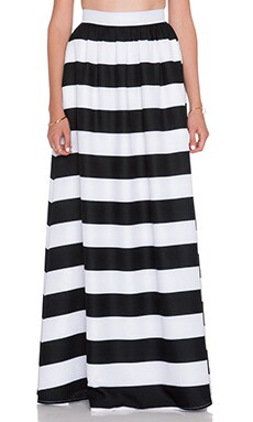BLAQUE LABEL Striped Maxi Skirt in Black & White