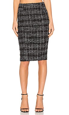 BLAQUE LABEL Tweed Pencil Skirt in Black & White
