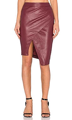 Asymmetrical Leather Skirt in Wine