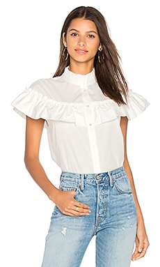 Ruffle Poplin Button Up in White