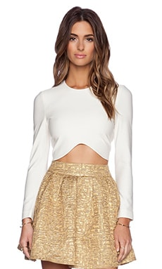 BLAQUE LABEL Long Sleeve Crop Top in White