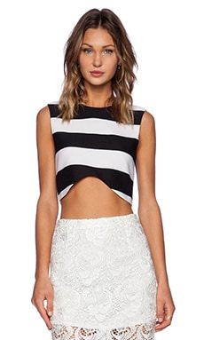BLAQUE LABEL Striped Crop Top in Black & White