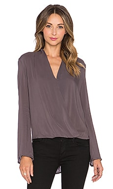 Wrap Blouse in Charcoal