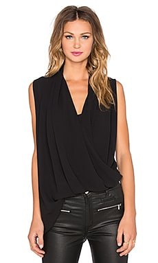 BLAQUE LABEL Asymmetrical Drape Tank in Black