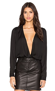 BLAQUE LABEL V Neck Bodysuit in Black