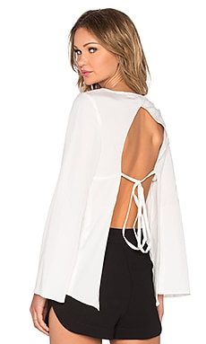 BLAQUE LABEL Tie Back Blouse in White