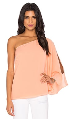 One Shoulder Winged Top in Pale Peach