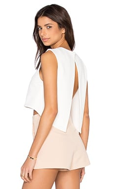BLAQUE LABEL Open Back Crop Top in White