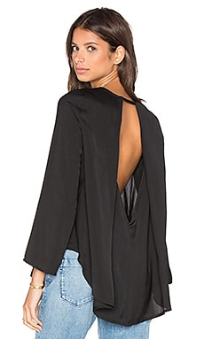 Long Sleeve Open Back Drape Top