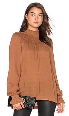 Ruched Funnel Neck Top in Dark Caramel