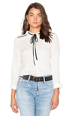 Tie Blouse in White & Black