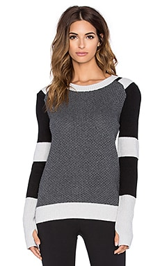 BLANC NOIR Moto Sweater in Heather Grey & Black & Ash Grey