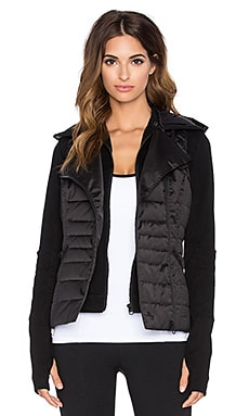 BLANC NOIR 3-In-1 Packable Moto Jacket in Black Satin & Black