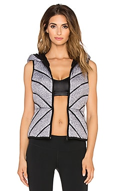 BLANC NOIR Mesh Inset Puffer Vest in Medium Grey