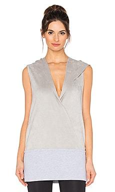 BLANC NOIR Wrap Hoodie Vest in Light Grey & White