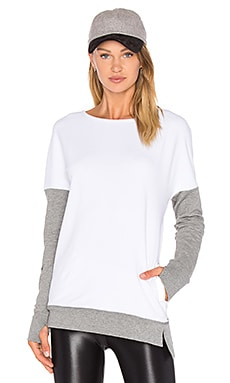 BLANC NOIR Crossback Sweatshirt in White & Medium Grey Heather
