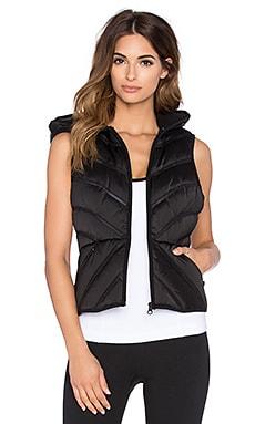 BLANC NOIR Mesh Inset Puffer Vest in Satin & Black