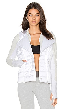 3 In 1 Packable Satin Jacket en White Satin & Ash Heather